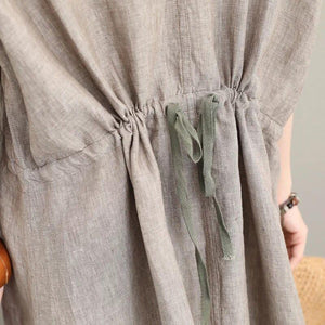 2018 gray natural linen dress plus size clothing v neck tie waist caftans vintage short sleeve side open maxi dresses