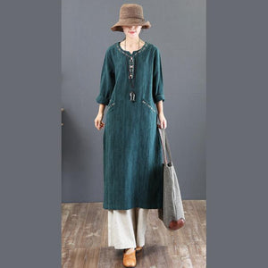 2018 green autumn casual dresses loose cotton maxi dress embroidery women maxi dress