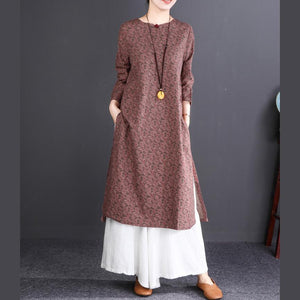 2018 light pink long cotton dress oversized Stand casual long sleeve baggy dresses