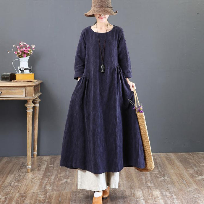 2018 navy linen dresses casual jacquard fall dresses vintage tunic big hem caftans
