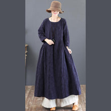 Load image into Gallery viewer, 2018 navy linen dresses casual jacquard fall dresses vintage tunic big hem caftans
