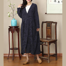 Load image into Gallery viewer, 2018 navy natural Loose fitting v neck traveling clothing wrinkled large hem autumn dress
