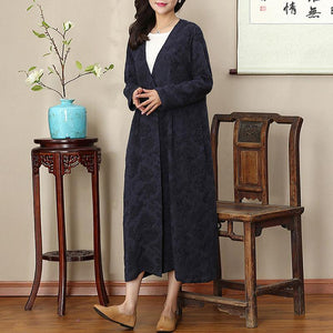 2018 navy natural Loose fitting v neck traveling clothing wrinkled large hem autumn dress