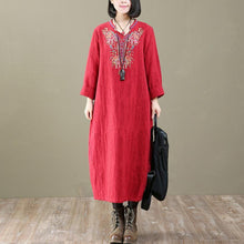 Load image into Gallery viewer, 2018 new embroidery cotton dresses plus size casual v neck gowm long sleeve women dress