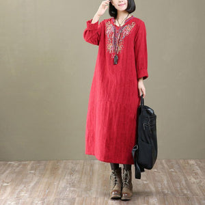 2018 new embroidery cotton dresses plus size casual v neck gowm long sleeve women dress