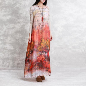 2018 prints linen caftans plus size clothing long sleeve silk linen clothing dress boutique o neck caftans