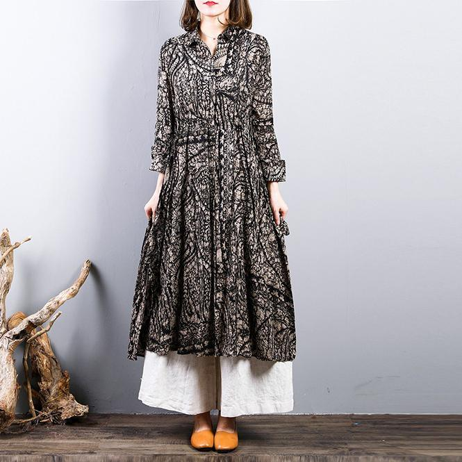 2018 prints linen thin coat oversized drawstring outwear women tunic side open Coat
