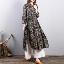 Load image into Gallery viewer, 2018 prints linen thin coat oversized drawstring outwear women tunic side open Coat