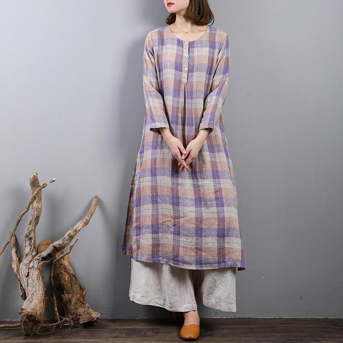 2018 purple plaid long linen dresses plus size side open traveling clothing boutique o neck maxi dresses