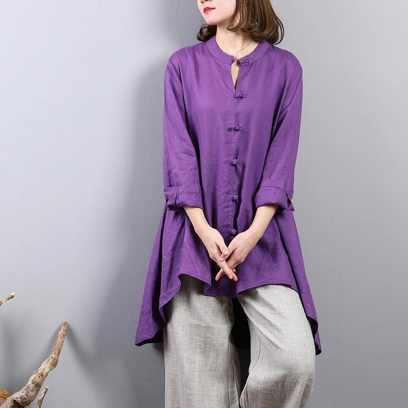 2018 purple pure linen blouse oversize  linen cotton t shirt  2018 Chinese Button low high design linen clothing t shirt