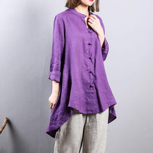 Load image into Gallery viewer, 2018 purple pure linen blouse oversize  linen cotton t shirt  2018 Chinese Button low high design linen clothing t shirt