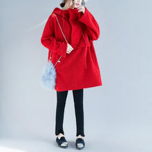 Load image into Gallery viewer, 2018 red Woolen tops Women Loose fitting tops hooded women tops