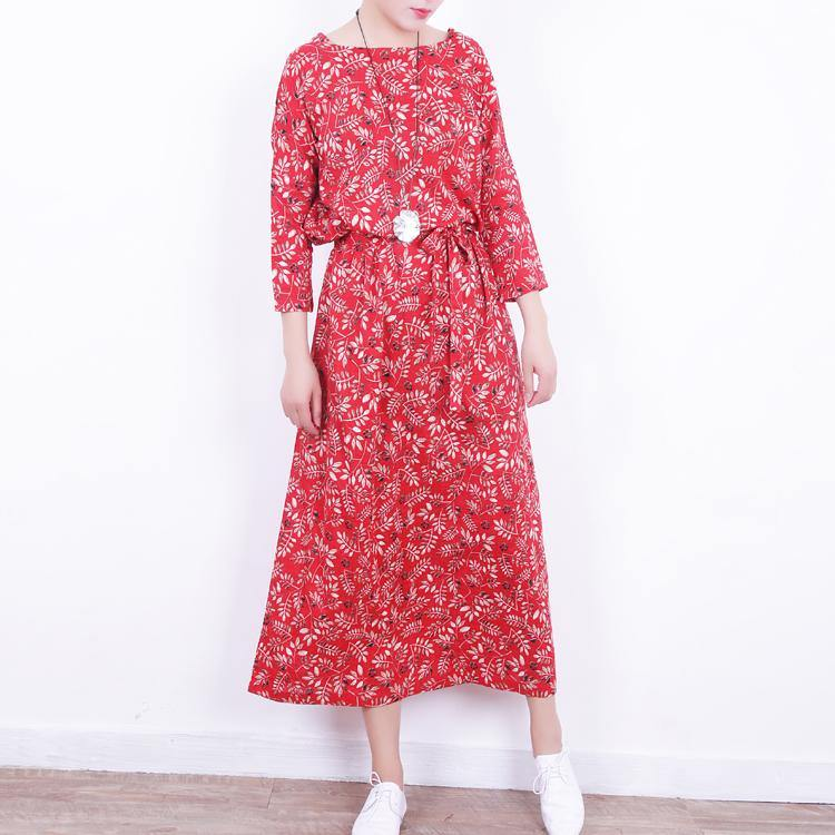 2018 red floral long linen dresses plus size o neck gown boutique tie waist kaftans