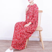 Load image into Gallery viewer, 2018 red floral long linen dresses plus size o neck gown boutique tie waist kaftans