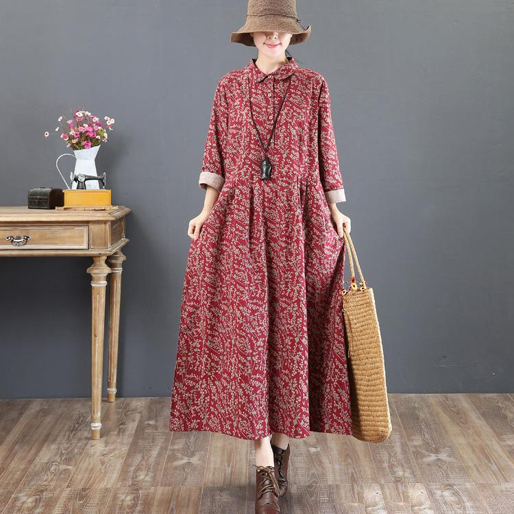 2018 red long cotton dress Loose fitting lapel collar traveling clothing top quality long sleeve autumn dress