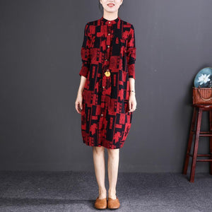 2018 red print cotton linen knee dress oversize traveling clothing New long sleeve Stand cotton linen dresses