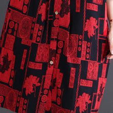 Load image into Gallery viewer, 2018 red print cotton linen knee dress oversize traveling clothing New long sleeve Stand cotton linen dresses