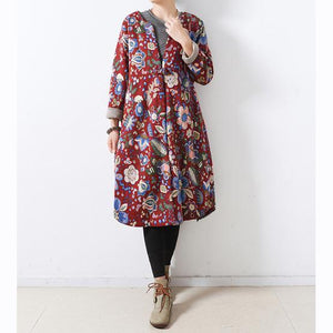 2018 red print women Loose fitting o neck vintage Casual Chinese Button overcoat