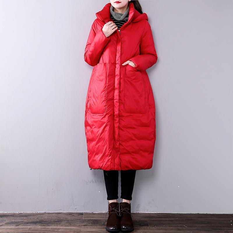2018 red women parkas casual hooded Fine Large pockets YZ-2018111408