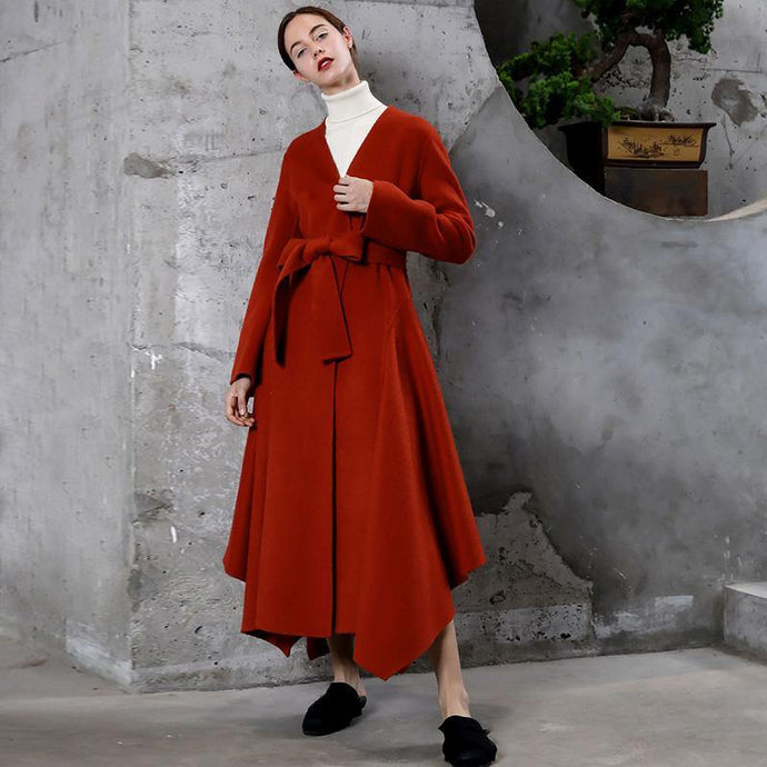 2018 red wool overcoat Loose fitting trench coat V neck tie waist asymmetric women coats