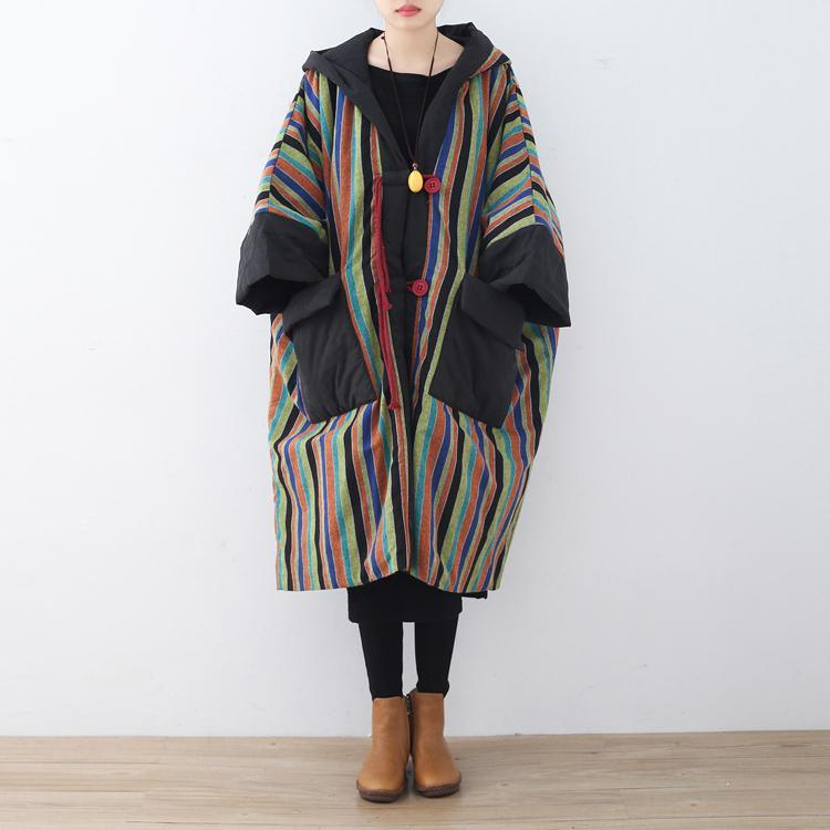 2018 striped quilted coat plus size clothing baggy cotton jacket Casual pockets overcoat