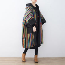 Load image into Gallery viewer, 2018 striped quilted coat plus size clothing baggy cotton jacket Casual pockets overcoat