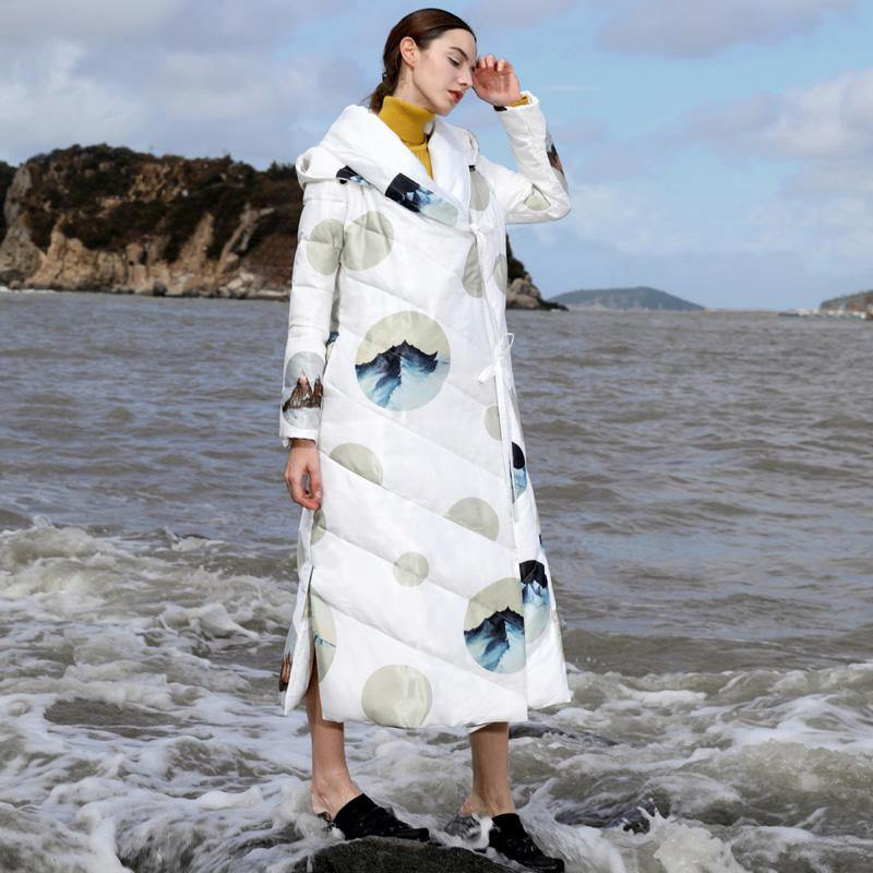 2018 white print duck down coat plus size thick winter jacket hooded winter outwear