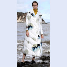 Load image into Gallery viewer, 2018 white print duck down coat plus size thick winter jacket hooded winter outwear