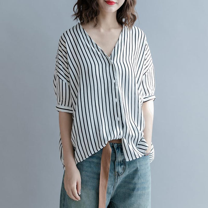 2018 white striped pure cotton blended tops oversized holiday tops Elegant Batwing Sleeve baggy v neck cotton blended tops