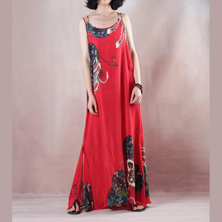 2018 women red print holiday dress o neck casual gowns  sleeveless gown a silk skirts maxi dress