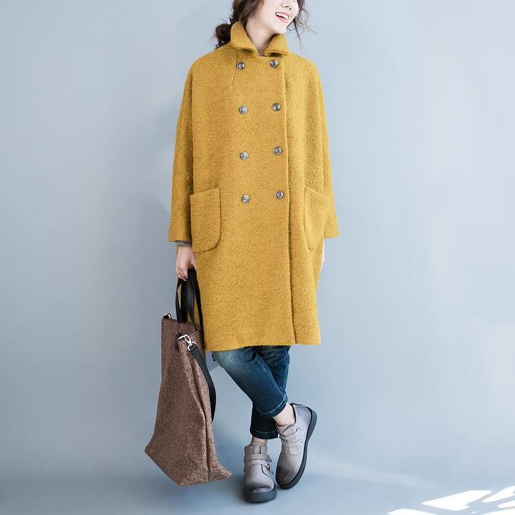 2018 yellow woolen coat plus size big pockets wool Coats Fashion double breast long coats