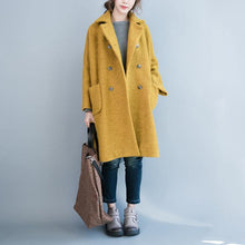 Load image into Gallery viewer, 2018 yellow woolen coat plus size big pockets wool Coats Fashion double breast long coats