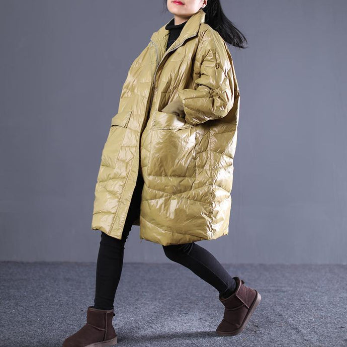 2018 yellow down overcoat plus size stand collar down overcoat thick pockets trench coat