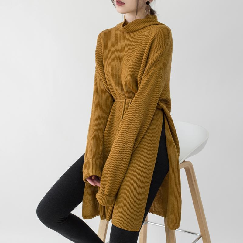 2018 yellow knit dresses Loose fitting high neck side open winter dresses boutique tie waist long knit sweaters