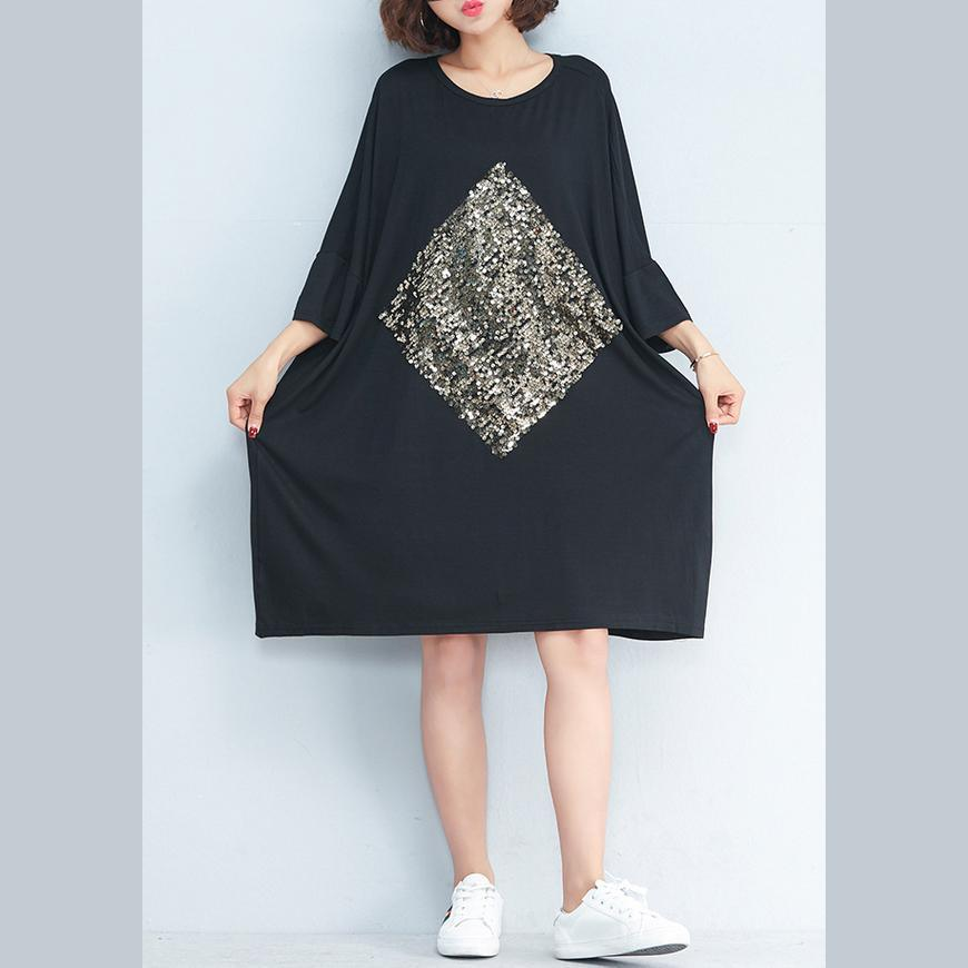 2018 black casual cotton dress oversize cotton blouse o neck shif dresses