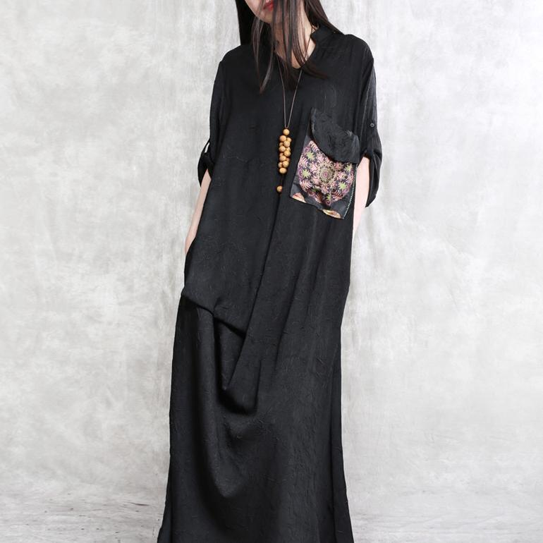 2018 black cotton dresses Loose fitting patchwork cotton clothing dress boutique big pockets cotton caftans