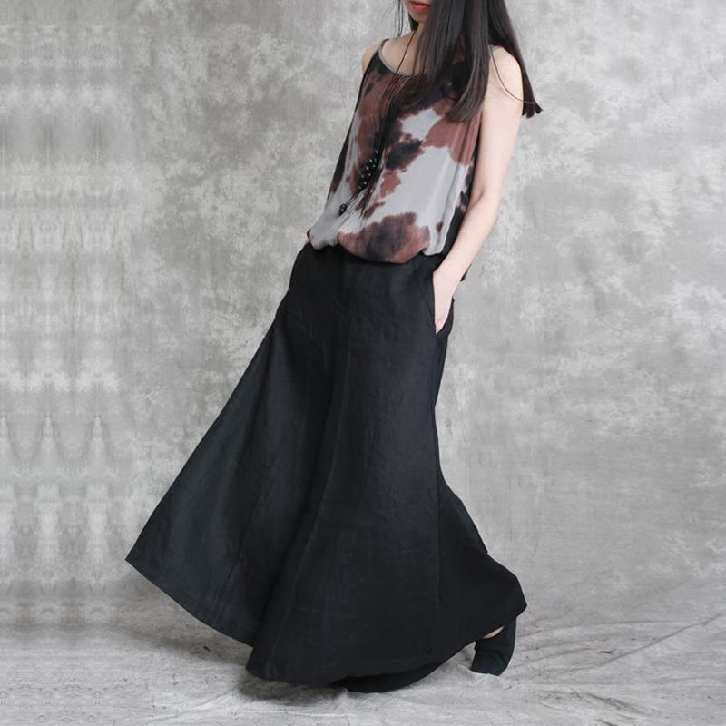 2018 black elastic waist cotton linen skirt pants casual women stylish pants