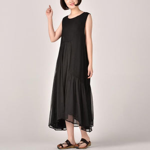 2018 black patchwork chiffon dress Loose fitting sleeveless clothing dresses casual asymmetric maxi dresses