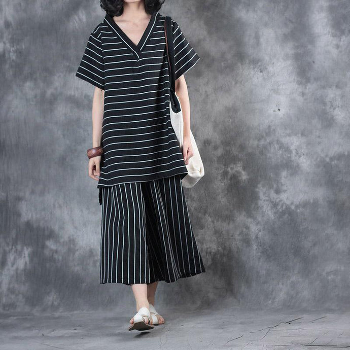 2018 black striped v neck silk linen shirt and crop wide leg pant two pieces