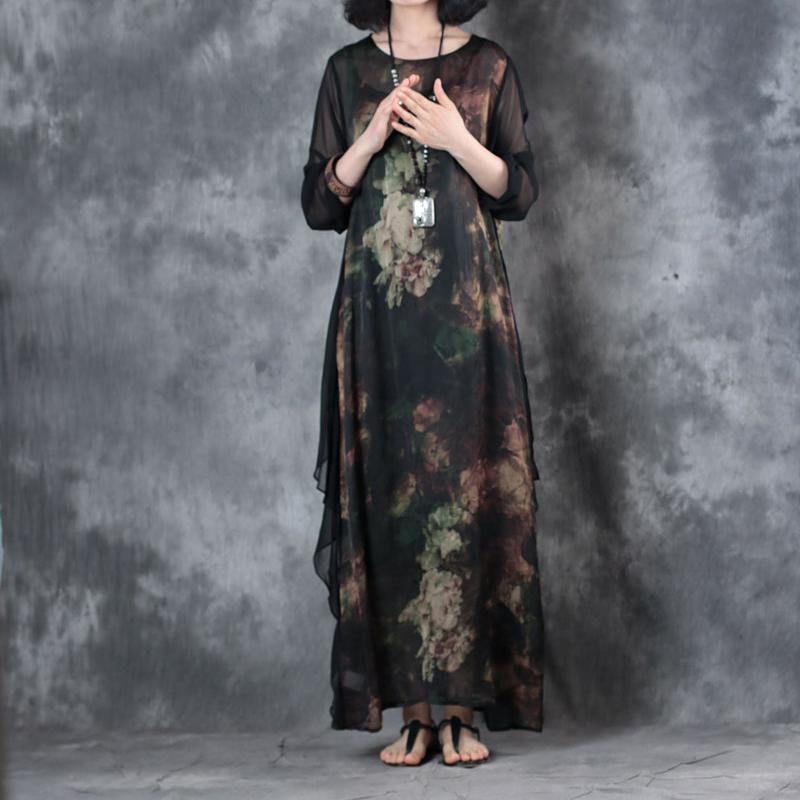 2018 black summer new chiffon prints dresses oversize aswmmetaic hem maxi dress