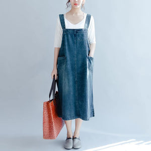 2018 denim blue cotton dresses oversize sleeveless cotton gown New traveling clothing