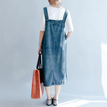 Load image into Gallery viewer, 2018 denim blue cotton dresses oversize sleeveless cotton gown New traveling clothing