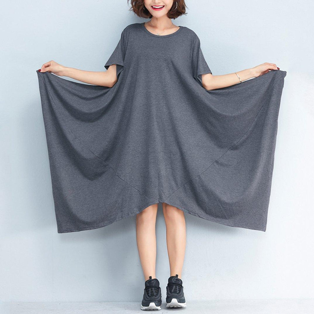 2018 gray long cotton dresses plus size clothing asymmetric hem cotton clothing dress casual short sleeve gown