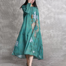 Load image into Gallery viewer, 2018 green prints linen dresses plus size clothing asymmetric caftans casual big hem kaftans