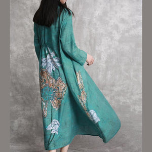 2018 green prints linen dresses plus size clothing asymmetric caftans casual big hem kaftans