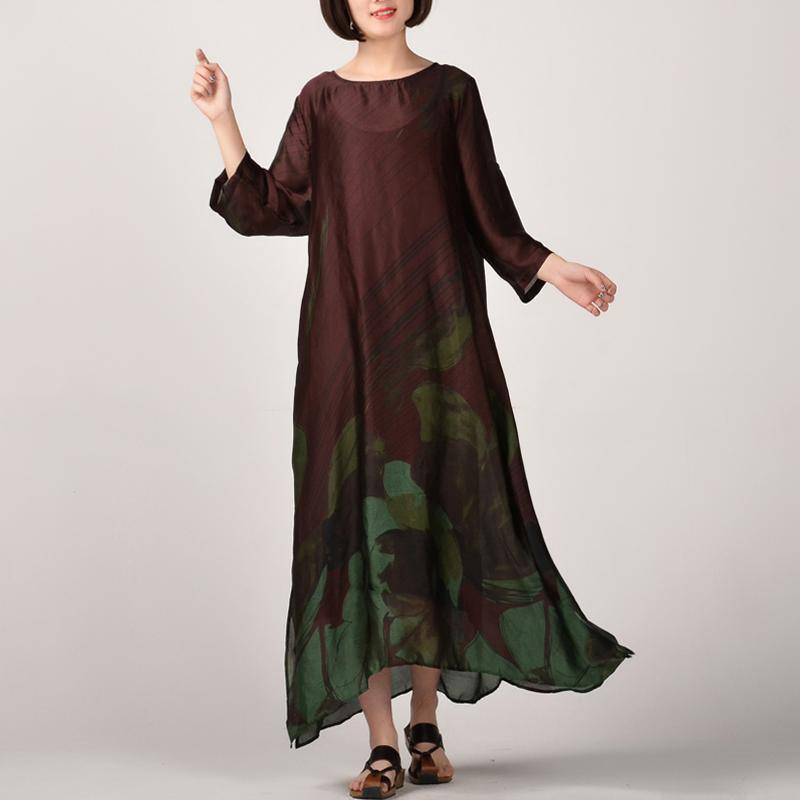 2018 green prints natural silk dress  plus size clothing side open silk clothing dresses Fine o neck gown