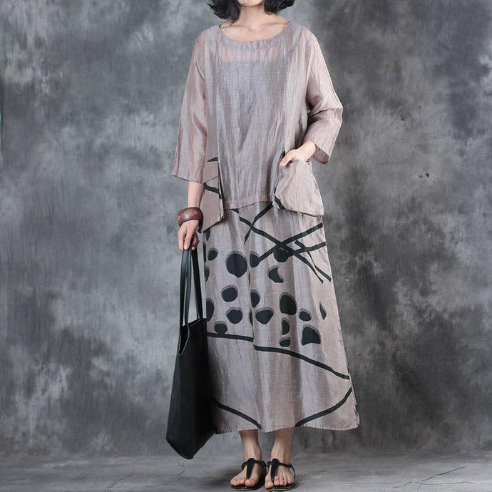 2018 nude linen caftans Loose fitting big pockets traveling dress New silk patchwork maxi dresses