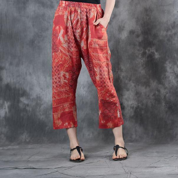 2018 red print linen crop pants casual elastic waist pants