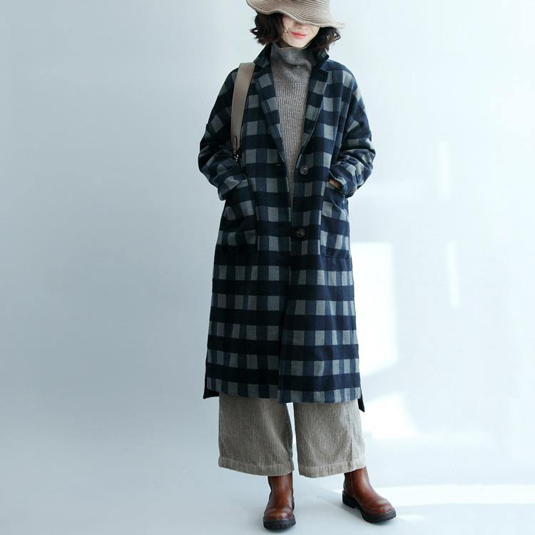 2018 spring blue grid Wool Coat oversized long jackets Fashion long coats