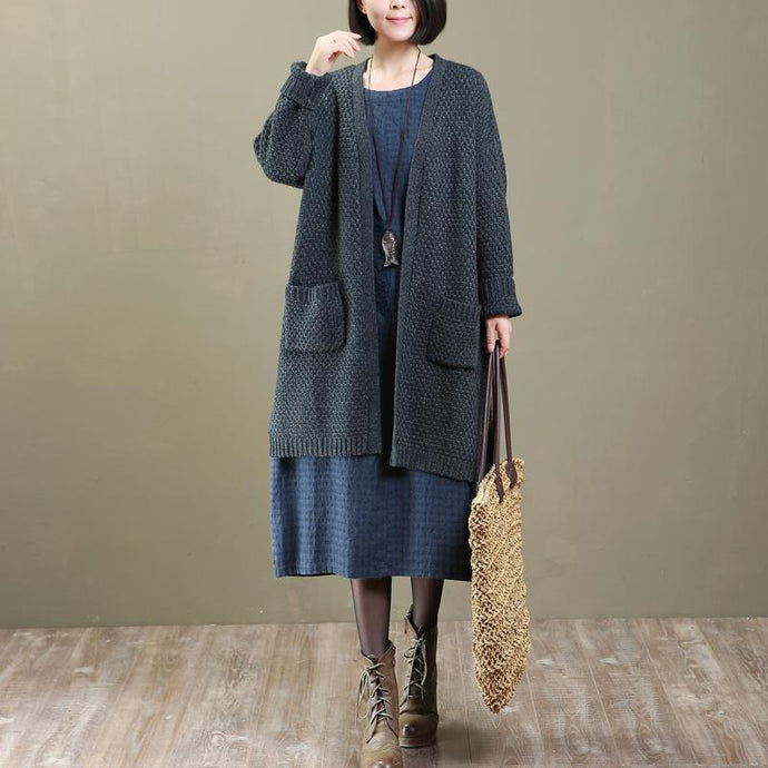 2018 spring gray knit cardigans oversized woolen sweater coats